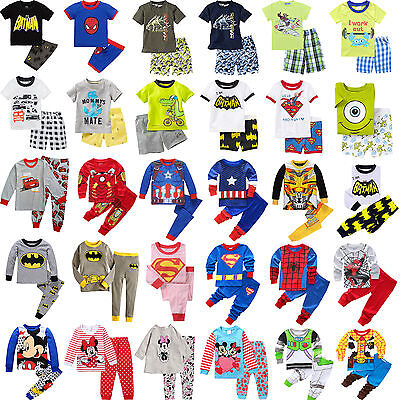 Boys Girls Cartoon Nightwear Fancy Dress Long/Short Sleeve Pyjamas Pj's Outfits
