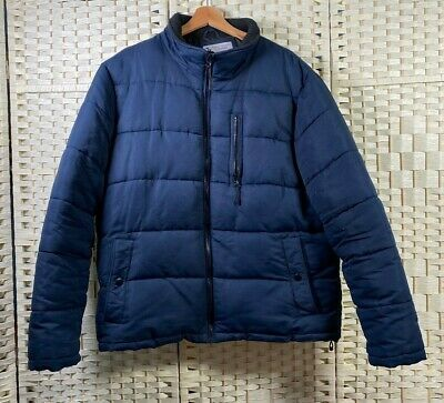 TU Navy Blue Padded Quilted Coat Jacket Puffer Winter Warm Zip Up Outwear (XL)