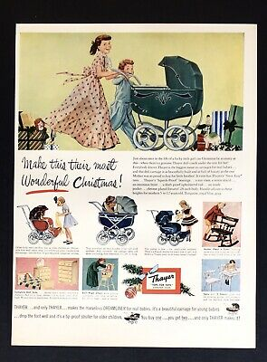 THAYER BABY CARRIAGE 519 Illustration Art 1951 Vintage Print Ad
