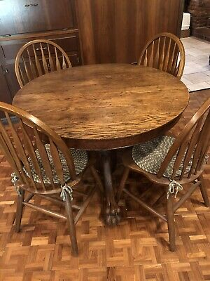 Antique Clawfoot Oak Table With Windsor Chairs