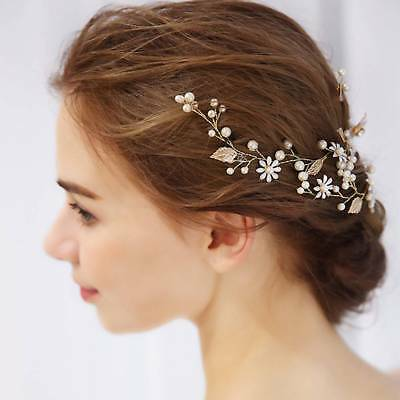 Wedding Metal Leaf Headband Pearl Flowers Bridal Handmade Hair Jewelry Chic