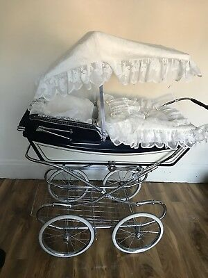 Baby Pram Canopy and Quilt Set  to fit Silver Cross pram in Cream Teddy lace