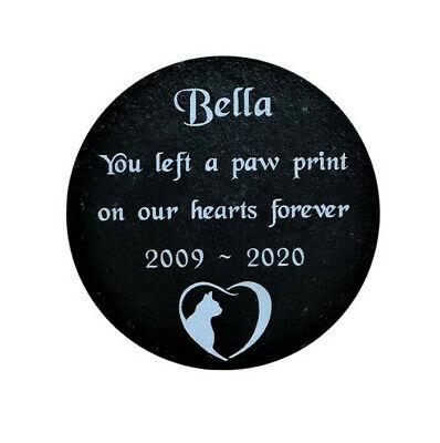 Personalised Engraved Pet Memorial Round Slate Grave Marker Plaque Cat Sign