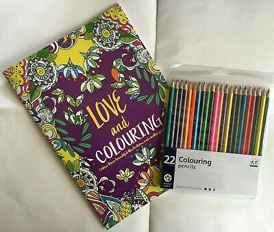 Love and Colouring Books with or without Pencils Stress Relief Adult Therapy