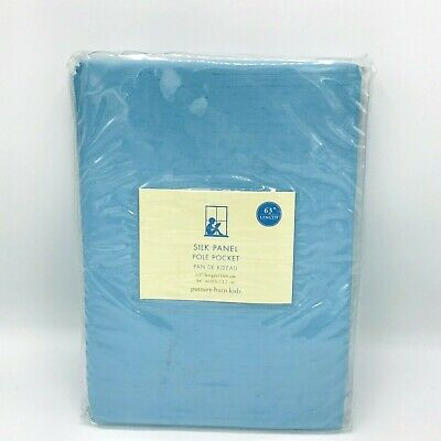 New Pottery Barn Silk Panel Pole Pocket Top Blackout Periwinkle Blue Curtain