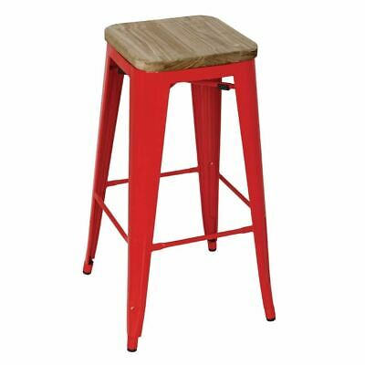 4X Bolero Red Steel Bistro High Stools With Wooden Seat Pad Chair Restaurant