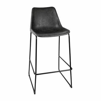 Bolero Rodeo High Stools in Black - Powder Coated Steel - Vintage Seat