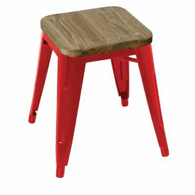 4x Bolero Red Steel Bistro Low Stools With Wooden Seatpad 455x405x405mm Chair