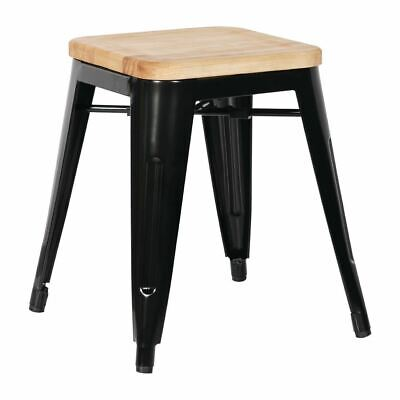 4X Bolero Black Steel Bistro Low Stools With Wooden Seat Pad Chair Restaurant