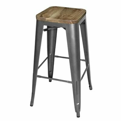4x Bolero Grey Steel Bistro High Stools With Wooden Seatpad 770x430x430mm Chair