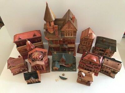 Vintage Folk Art Handmade Victorian Houses Keepsake Jewelry Boxes