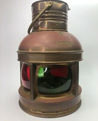 Huge Triplex Combination Port & Starboard Nautical Lantern Red Green Clear Glass