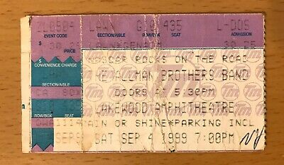 1999 The Allman Brothers Band Atlanta Concert Ticket Stub Gregg Dickey Betts