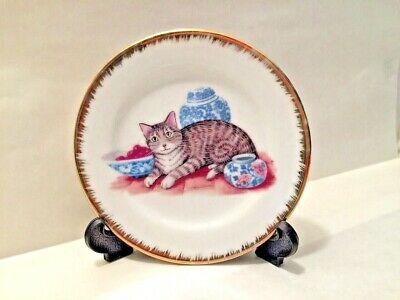 Cat Japanese Vases Decorative Plate with Stand Gold Rim Detailing Vintage
