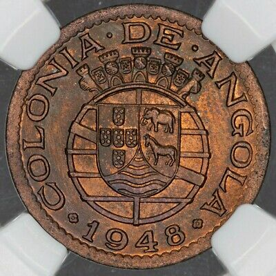 1948 Angola 20 Centavos Ngc Ms64Rb Only 5 Graded Higher Deep Green Toned (Dr)