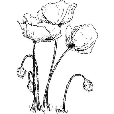 'Poppies' Rubber Stamp (RS008060)