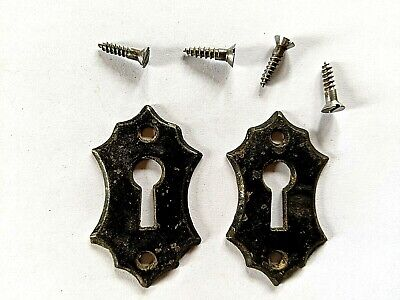 2 Ornate Antique Victorian Cast Iron Keyhole Covers with Screws