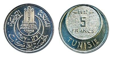 Ten (10) Tunisia 5 Francs Uncirculated 1957 Coins,KM277