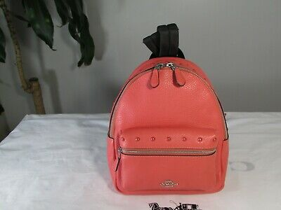 NWT Coach F45070 Studded Mini Charlie Backpack Pebble Leather Black// Coral $350