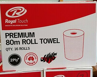 Hand Towel, Premium Roll Towel 2 Ply 80M - Carton Of 16