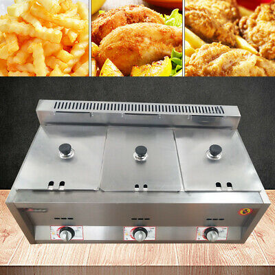 3 Pans Gas Steam Table Food Warmer Commercial Kitchen Fast Gas Fryer Steamer