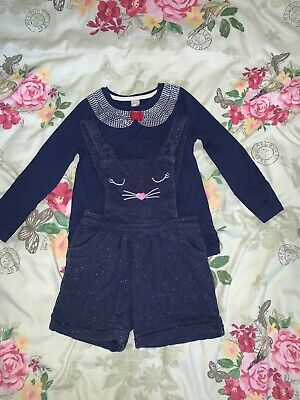 Girls Age 2-3-4 Set Outfit Top And Short Dungaree