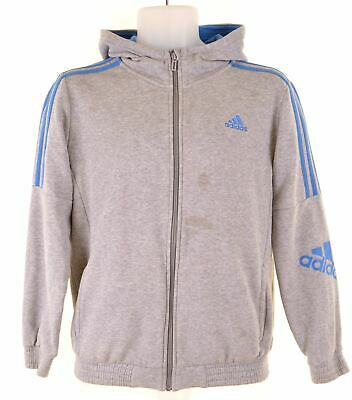 ADIDAS Boys Hoodie Sweater 13-14 Years Grey Cotton  DT07