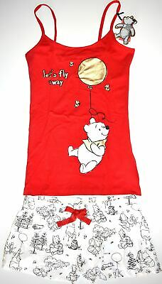 Winnie Pooh Bear PJ Set Pyjamas Disney Primark Vest Shorts Womens UK 6 to 20