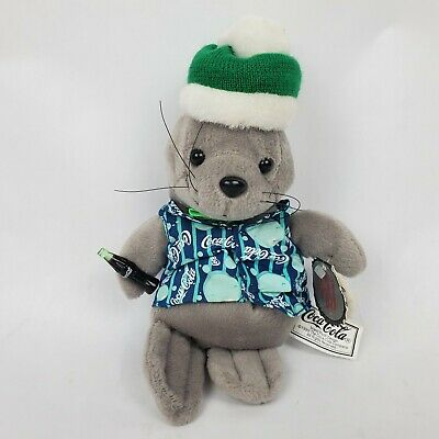 "Coca-Cola Seal 9"" Plush Coke Bottle Green Hat Shirt Vintage 1999 Collectible"