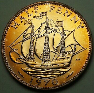 1970 Great Britain Half Penny Proof Unc Bright Yellow Color Toned Choice Bu (Ss)
