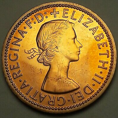 1970 Great Britain Half Penny Proof Unc Gorgeous Yellow Color Toned Gem Bu (Ss)