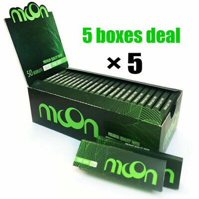 """5 Boxes Moon New Green 1.0"""" 70*36mm Cigarette Tobacco Rolling Papers Hemp Papers"""