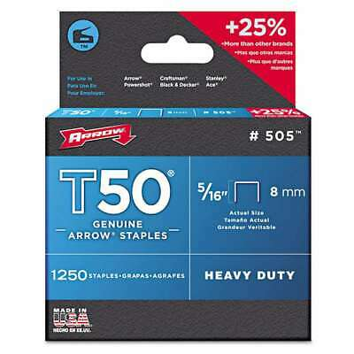 "Arrow T50 Heavy Duty Staples, 5/16"" Leg, 1250/Pack 079055505167"
