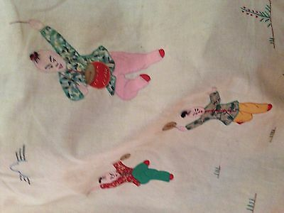 Vintage Asian Chinese Japan Antique Embroidery Holder Bag 1950 Fabric Acrobats