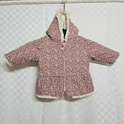 Baby Girl NEXT Pink Floral Winter Coat 3-6 MTHS Cotton Faux Fur Hood Full Zip