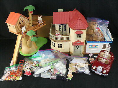 Large Calico Critters Lot House, Treehouse, Restaurant, Car, Figures, Furniture+