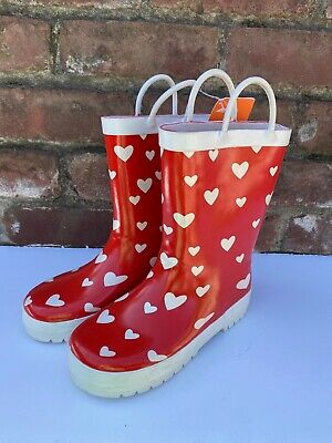 Gymboree Red White Hearts Girls Size 12 Pull On Rain Boots New