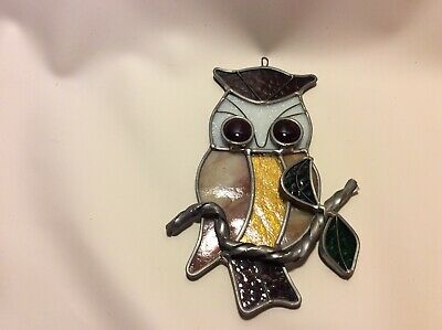 OWL bird -Stained Glass - Handcrafted-Sun Catcher - 6.5 x 4.5 Inches window hang