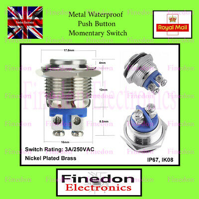 16mm Anti-Vandal Momentary Stainless Steel Metal Push Button Switch UK Seller