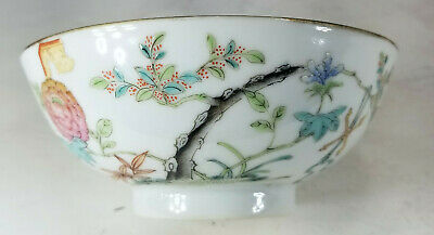 Antique Chinese Finely Painted Enameled Porcelain Bowl Signed Republic Seal