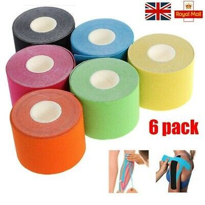 6 Rolls 5cm*5m Kinesiology Tape Elastic Sports Physio Muscle Tape Injury Support