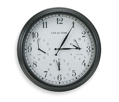 "23"" Round Metal Wall Clock 4 Zone Displays Local, New York, Paris & Tokyo Time"