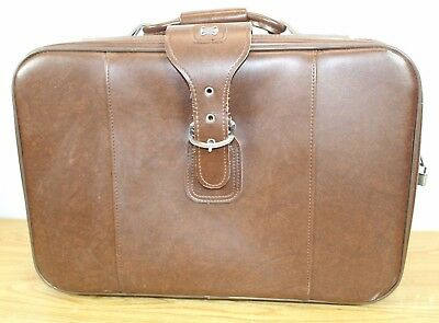 "Vintage American Tourist Med Size Luggage w Zip & Buckle 20""x15"" Brown Suitcase"