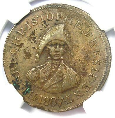 1807 Haiti Copper Pattern 1C Cent Coin - Certified NGC AU Details - Rare Coin!