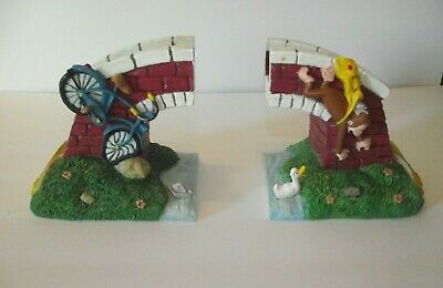 1997 Vandor Numbered Curious George Bicycle and Bridge Bookends
