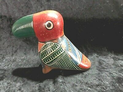 Vtg. Mexican Hand Painted Folk Art Toucan Bird Pottery.