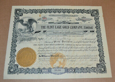 The Flint Lake Gold Company, Limited 1903 antique stock certificate