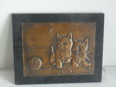 Hammered copper cat kitten picture