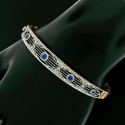 Alling & Co Antik Edwardianisch 14k Gold Platin Saphir Diamant Armreif Armband