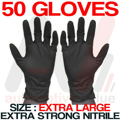 Black Nitrile Disposable Gloves -Powder & Latex Free - Cleaning Use X-Large 50pk